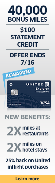 Advertisement: Learn about earning 40,000 bonus miles and a $100 statement credit with the United Explorer Card. Offer ends 7/16.