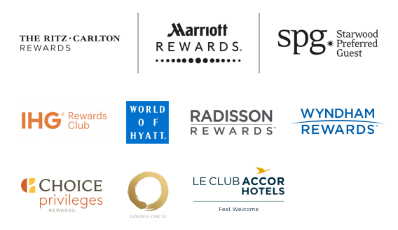 The Ritz-Carlton Rewards logo, Marriott Rewards logo, Starwood Preferred Guest logo, IHG Rewards Club logo, World of Hyatt logo, Radisson Rewards logo, Wyndham Rewards logo, Choice Privileges Rewards logo, Golden Cirlce logo, Le Club AccorHotels logo