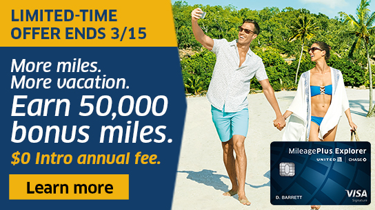 MileagePlus Explorer Card Limited-Time Offer: 50,000 bonus miles