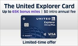 The United Explorer card – Up to 65K bonus miles | $0 intro annual fee
