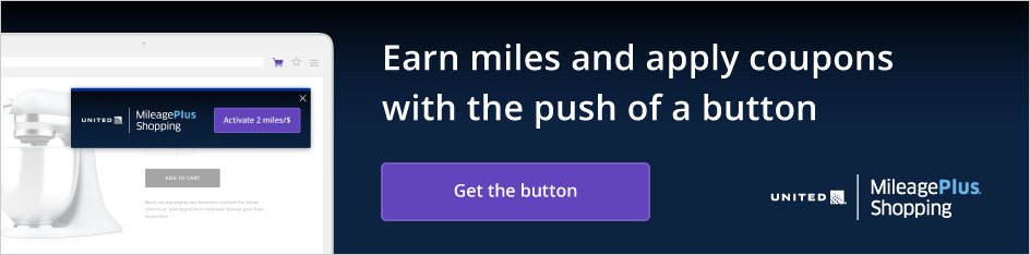 United MileagePlus Shopping, activate two miles per dollar. Earn miles and apply coupons with the push of a button. Install MileagePlus Shopping button to activate miles directly at over nine hundred popular stores. Get the button. Chrome store rating: five stars.