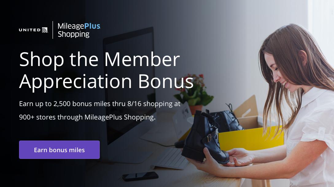Werbung: United MileagePlus-Shopping – Einkaufen mit Member Appreciation Bonus – Sammeln Sie mit MileagePlus-Shopping in mehr als 900Geschäften bis zu 2.500Bonusmeilen. Gültig bis zum 16.August. Klicken, um mit dem Member Appreciation Bonus Bonusmeilen zu sammeln.