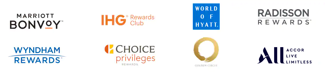 Marriott Bonvoy logo, IHG Rewards Club logo, World of Hyatt logo, Radisson Rewards logo, Wyndham Rewards logo, Choice Privileges Rewards logo, Golden Cirlce logo, ALL logo