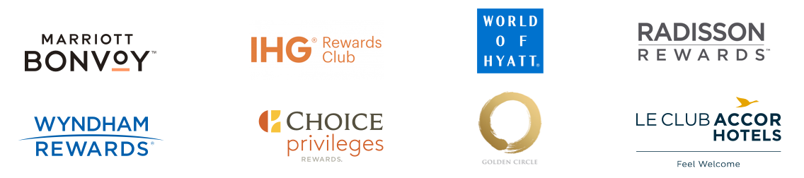 Marriott Bonvoy logo, IHG Rewards Club logo, World of Hyatt logo, Radisson Rewards logo, Wyndham Rewards logo, Choice Privileges Rewards logo, Golden Cirlce logo, Le Club AccorHotels logo