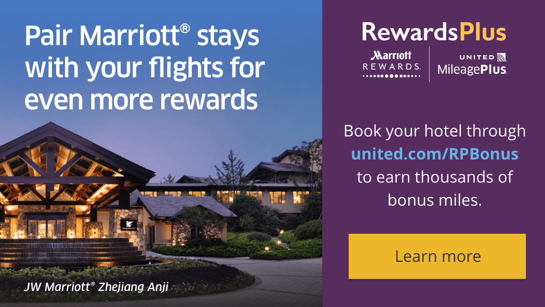Pair Marriott stays with your flights for even more rewards. Book your hotel through united.com slash RPBonus to earn thousands of bonus miles. Learn more.