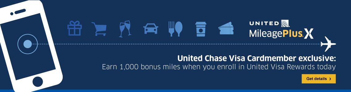 United MileagePlus X United Chase Visa Cardmember exclusive: Earn one thousand bonus miles when you enroll in a United Visa Reward today. Get Details.