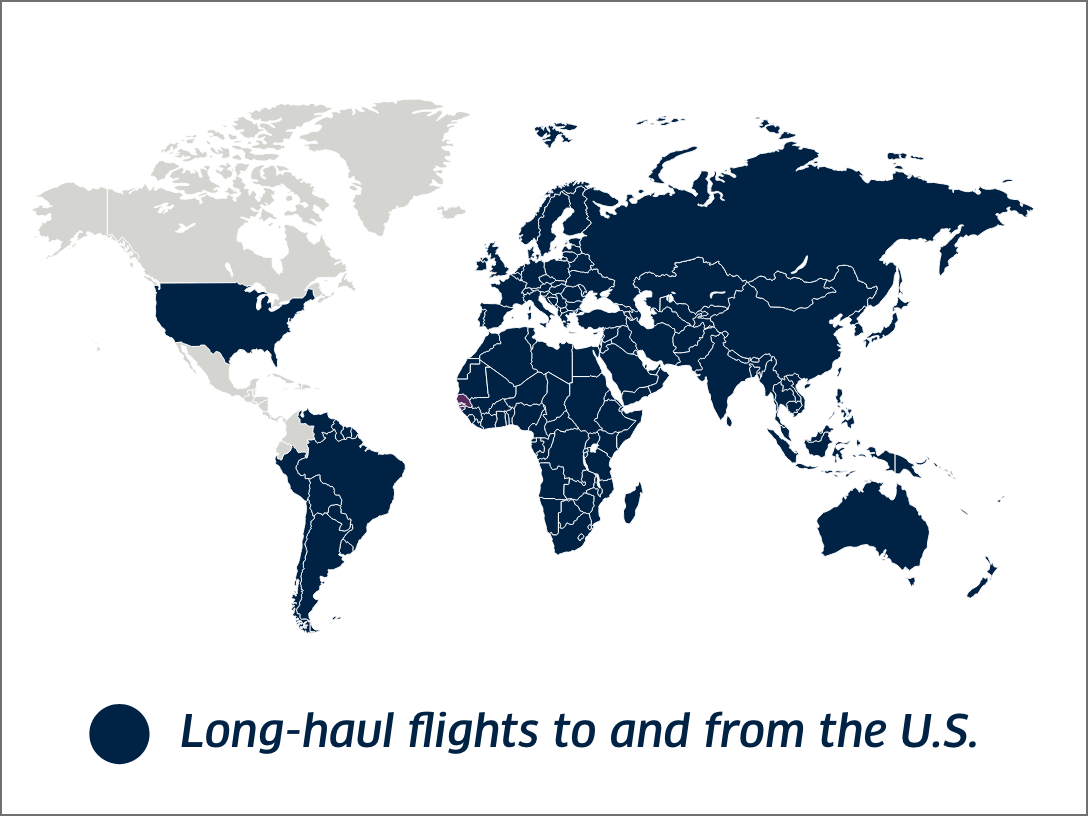 Map showing long-haul routes