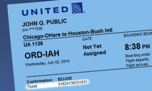 Ticket number shown on the lower left hand side below the flight number and confirmation number
