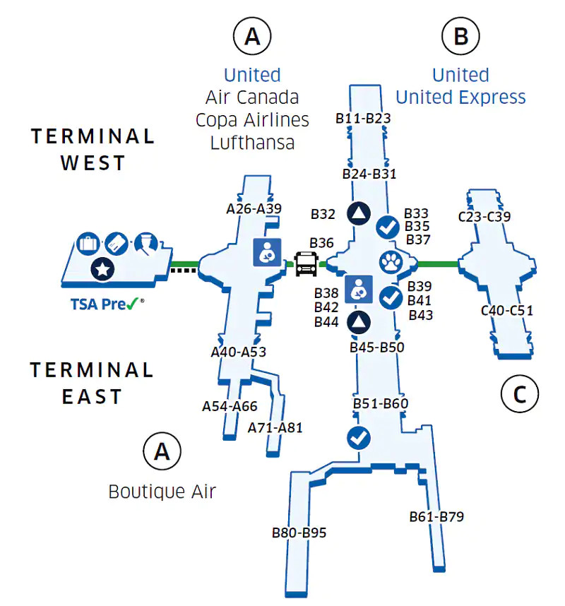 dia map of terminal Denver International Airport Den dia map of terminal