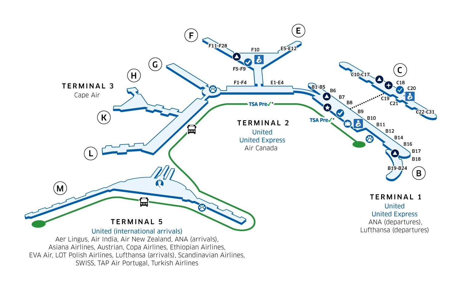 シカゴ・オヘア国際空港(ORD)マップ - このターミナルマップの後にテキストを表示