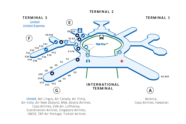 sfo map terminal 1 San Francisco International Airport Sfo sfo map terminal 1