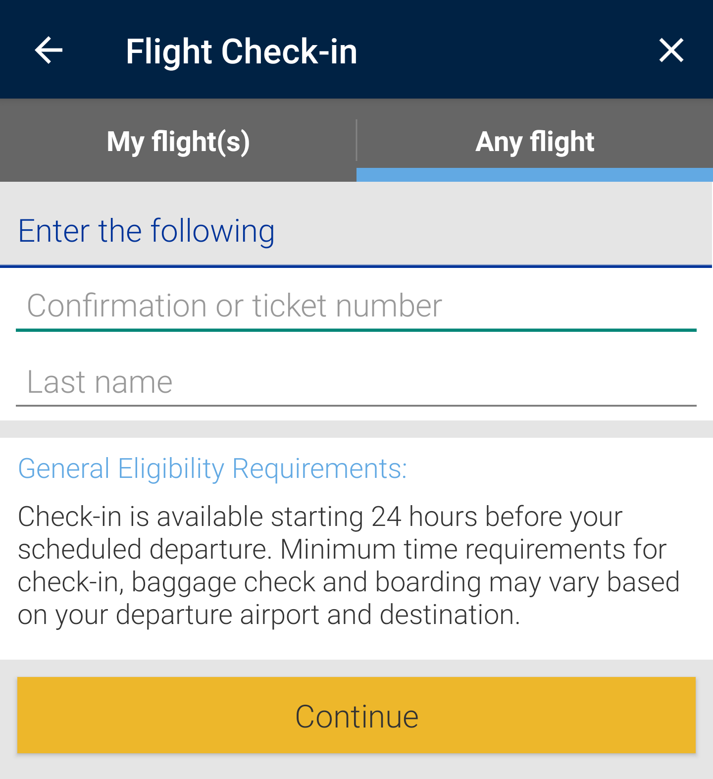Mobile App check-in UI
