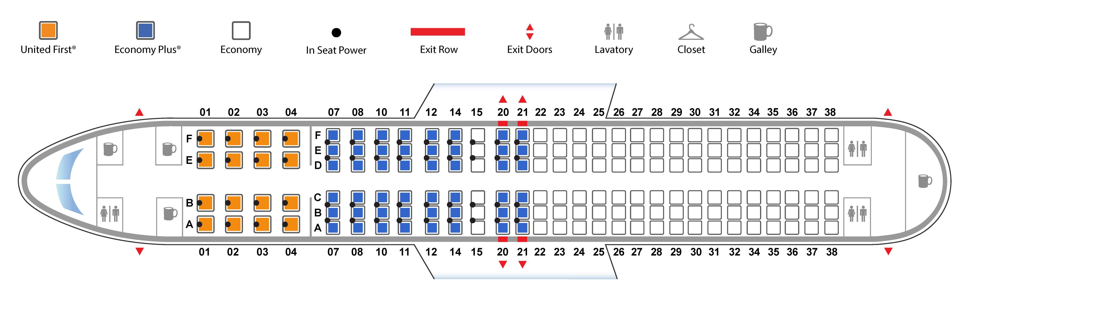 ユナイテッド航空ボーイング737-800(バージョン1)座席表