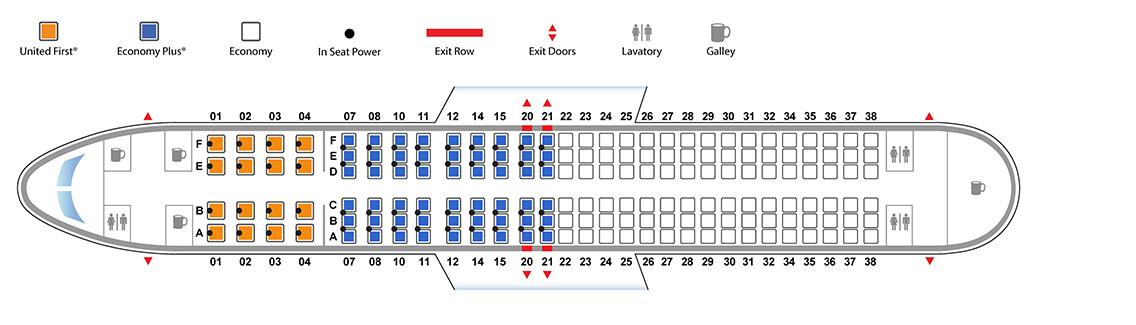 ユナイテッド航空ボーイング737-800(バージョン2)座席表