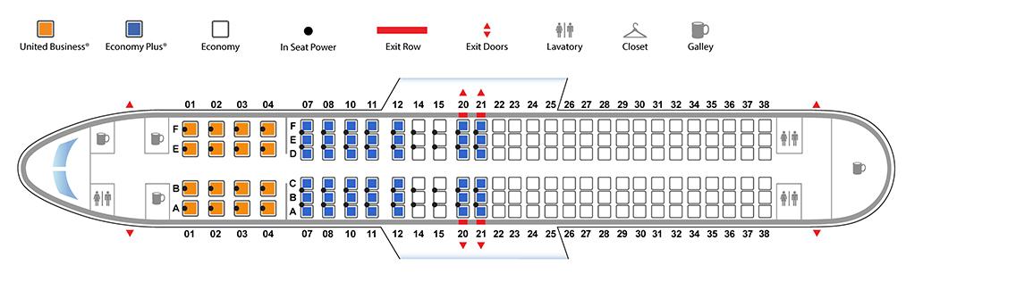 ユナイテッド航空ボーイング737-800(バージョン3)座席表
