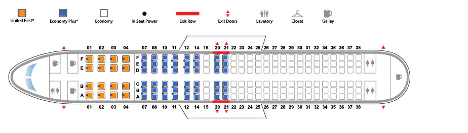 Boeing 737-800 version 1 United Airlines seating