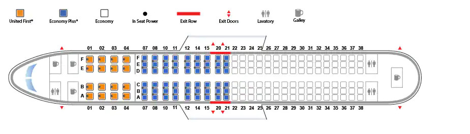 Boeing 737-800 version 2 United Airlines seating