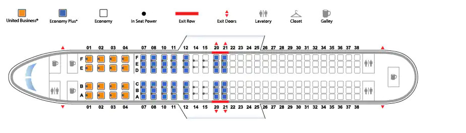 Boeing 737-800 version 3 United Airlines seating
