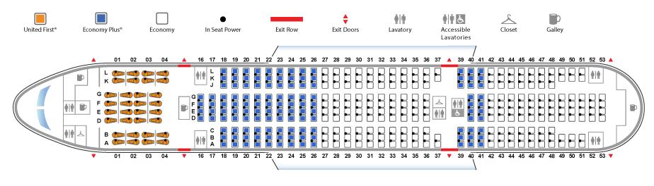 ユナイテッド航空ボーイング777-200型機(バージョン6)座席