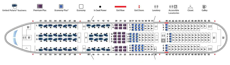 Boeing 777 version 5 United Airlines seat map