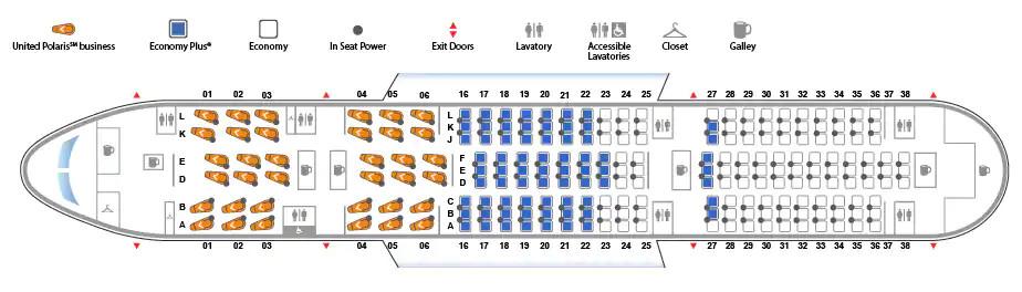 ユナイテッド航空ボーイング787型機座席