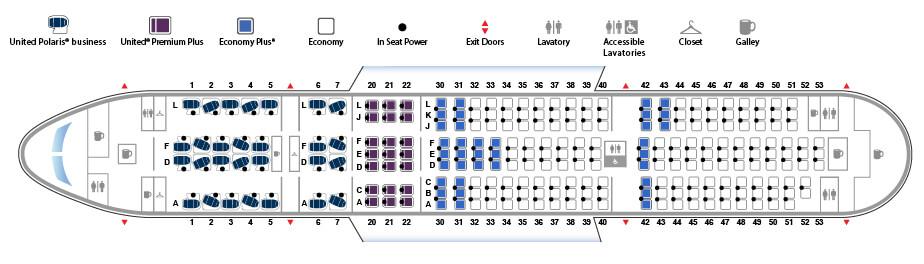 ユナイテッド航空ボーイング787型機(バージョン2)の座席