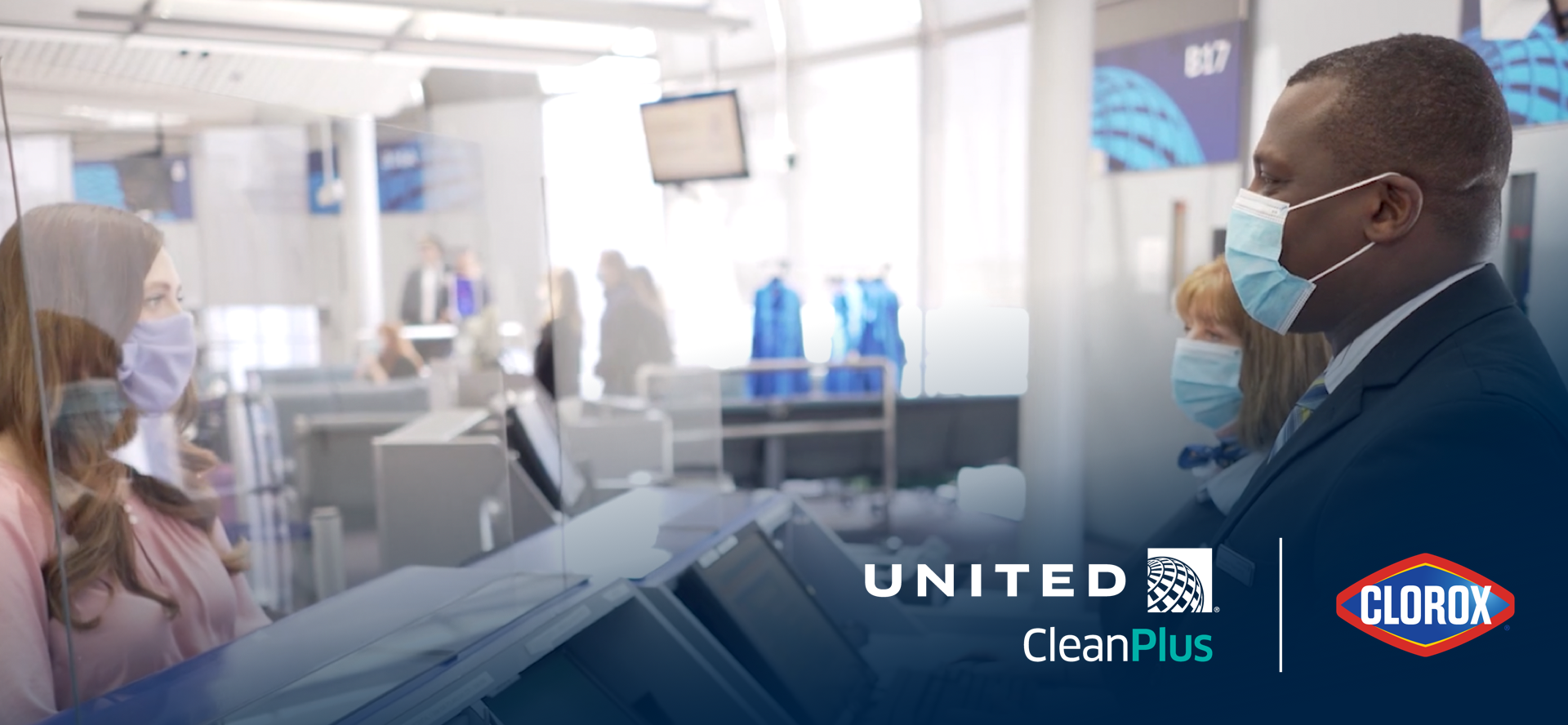 United employee and the customer wearing masks | United CleanPlus logo | Clorox logo
