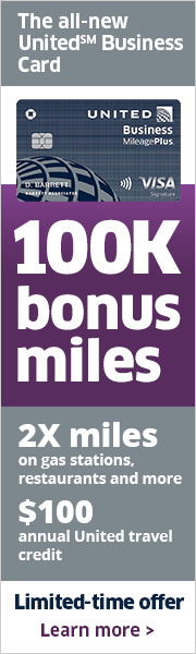 Advertisement: Limited-time offer: Earn 100,000 bonus miles with the New United Business Card.