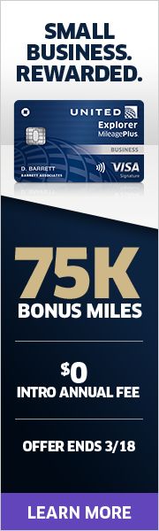 Advertisement: Earn 75,000 bonus miles and enjoy a $0 intro annual fee with the United Explorer Business Card