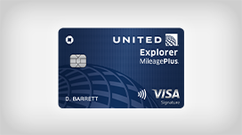 Sixty thousand bonus miles, zero dollar annual fee. United Explorer MileagePlus Visa Card.