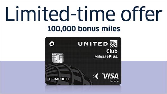 United Club MileagePlus: Limited-time offer 100,000 bonus miles