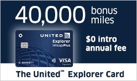 The United Explorer Card. Fourty thousand bonus miles and zero dollar annual fee.