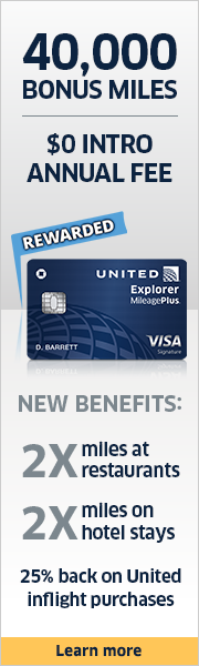 Advertisement: Learn about earning 40,000 bonus miles with the United Explorer Card.