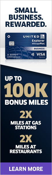 Advertisement: Earn up to 100,000 bonus miles with the United Explorer Business Card.