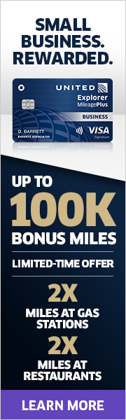 Advertisement: Limited-time offer: Earn up to 100,000 bonus miles with the United Explorer Business Card.