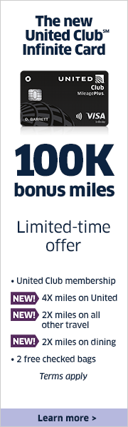 Advertisement: Limited-time offer. Earn 100,000 bonus miles and a United Club membership with the United Club Infinite Card.