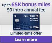 Advertisement: Learn about earning up to 65,000 bonus miles with the United Explorer Card.