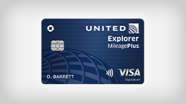 Sixty thousand bonus miles, zero dollar annual fee. United Explorer MileagePlus Visa Card.