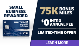 Small Business Rewarded: 75K Bonus Miles with $0 Intro Annual Fee. Limted-Time Offer. Learn More