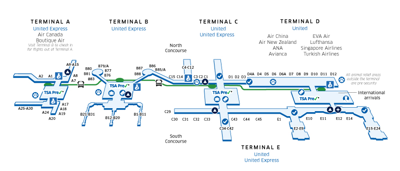 Houston Intercontinental (IAH) Airport Map | United Airlines on