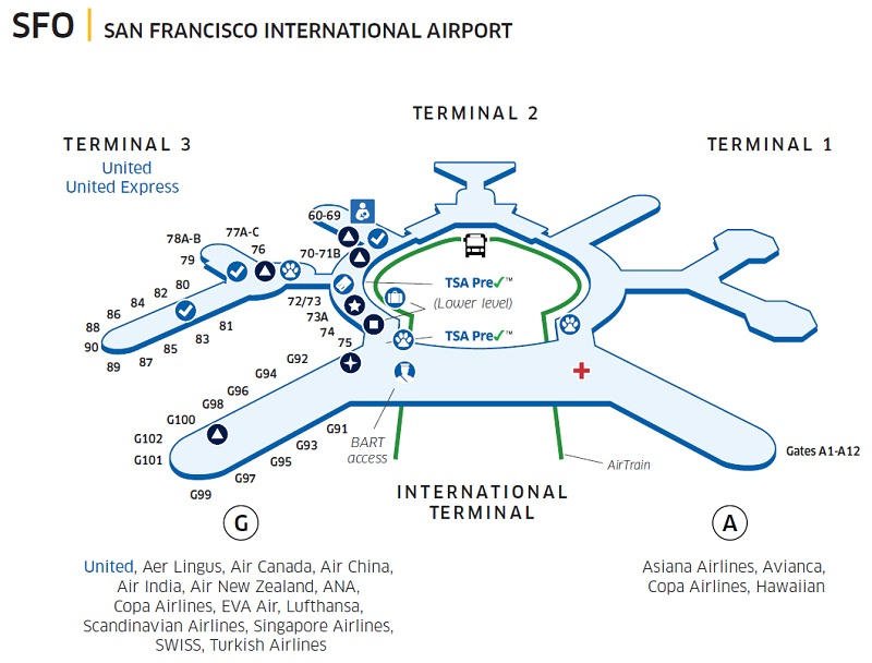 sfo terminal i map Chinese All About Sfo Airport Map United Airlines sfo terminal i map